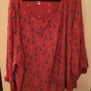Plus size cat blouse